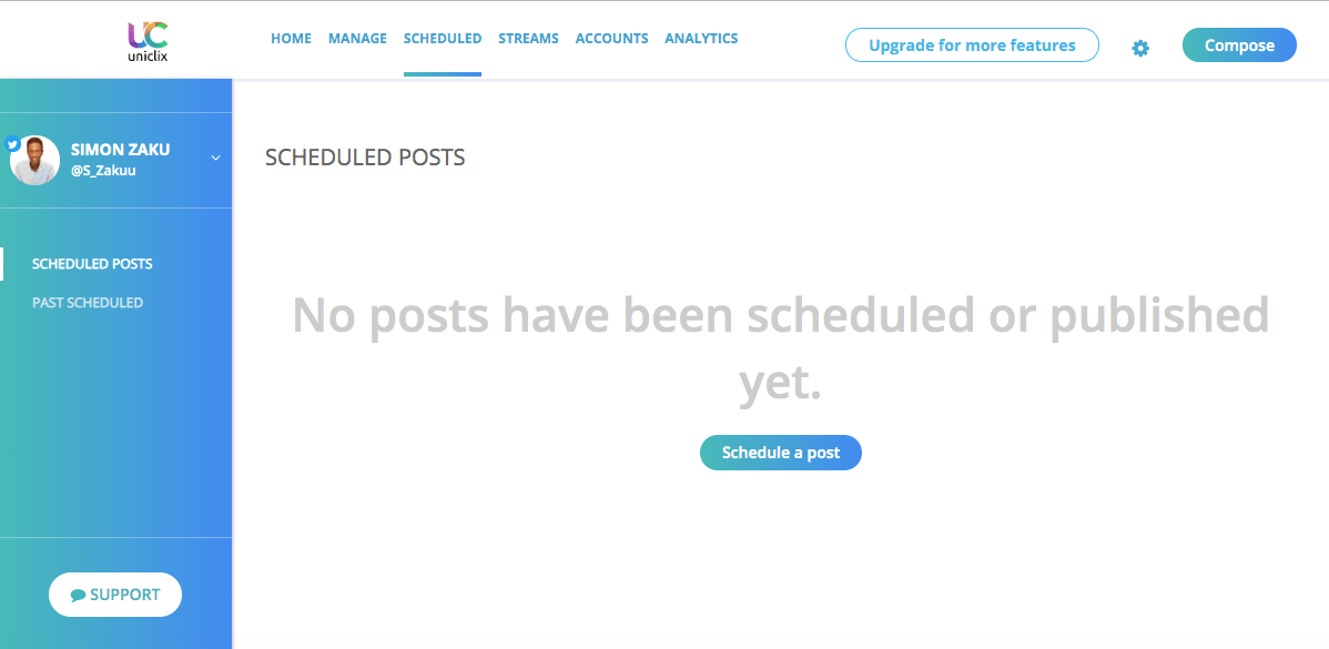 free twitter hacks: uniclix social media scheduling dashboard