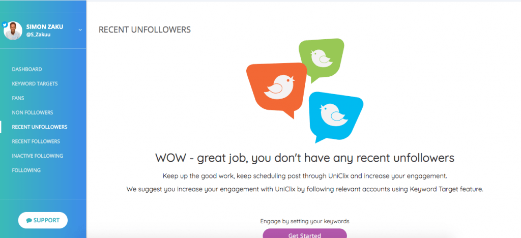 uniclix app - twitter unfollow tools
