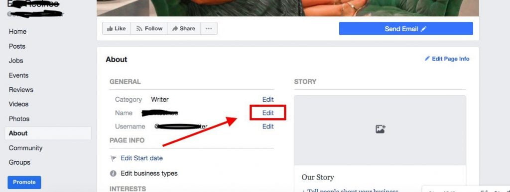 Change Facebook page name on desktop