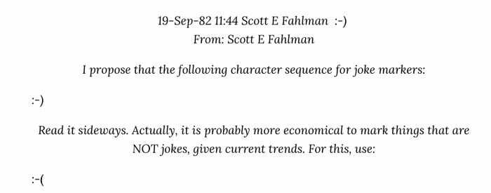 Scott E Fahlman first email using emoticons