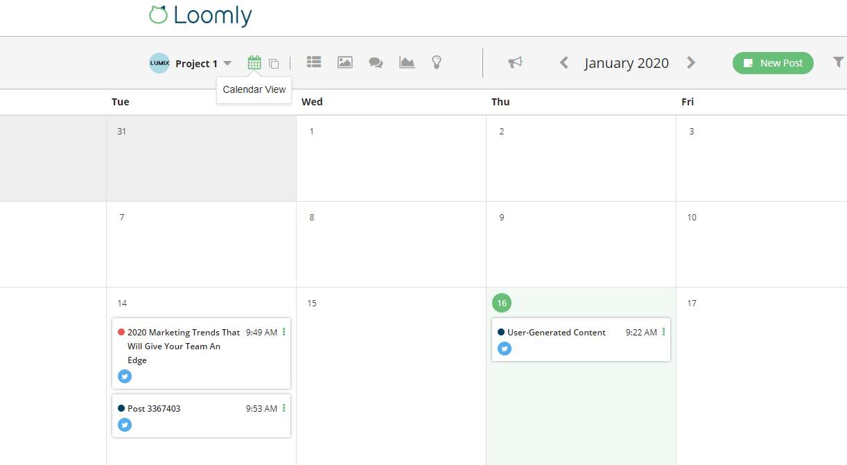 Loomly Calendar View