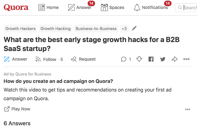 growth hacks for b2b saas quora