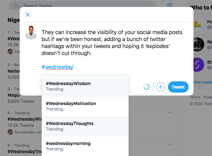 Wednesday Trending Hashtags on Twitter