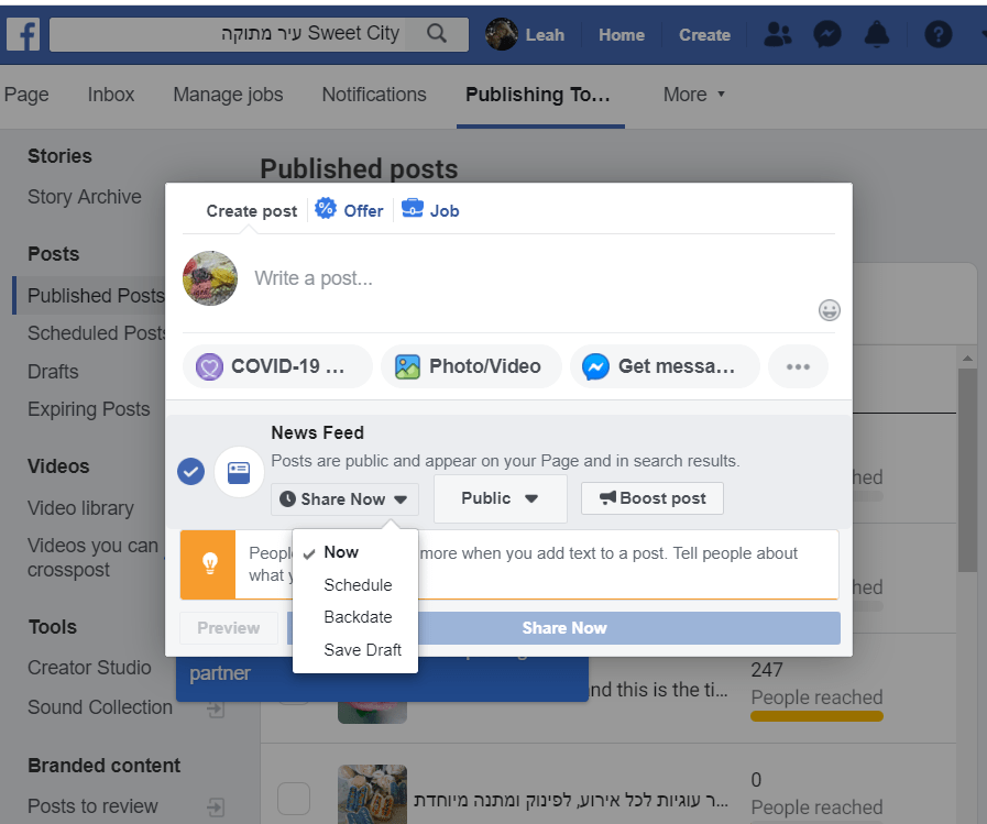 publish post on facebook