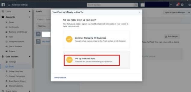 Facebook Business Manager Pixels manual setup