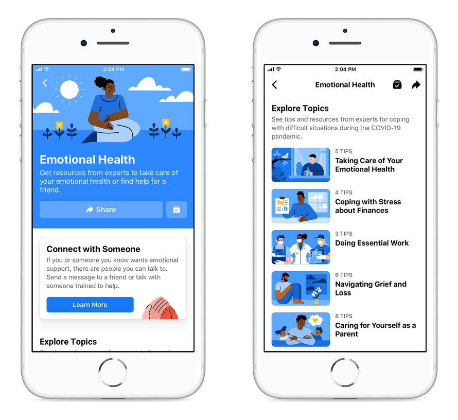 Screenshots of Emotional Health Resource Center in the Facebook app - Facebook Updates October 2020