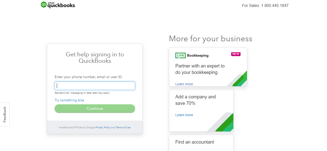 QuickBooks log in