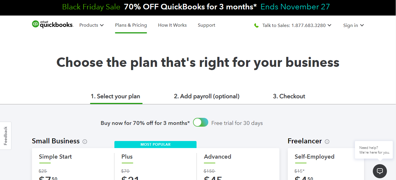Quickbooks plans